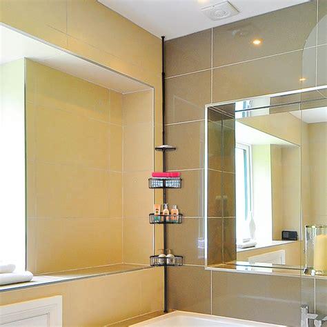 tier metal shower corner pole caddy shelf rack bathroom