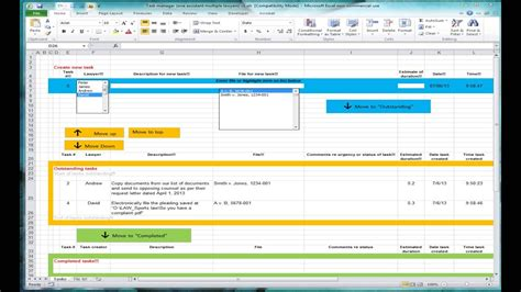 excel spreadsheet  tracking tasks shared workbook