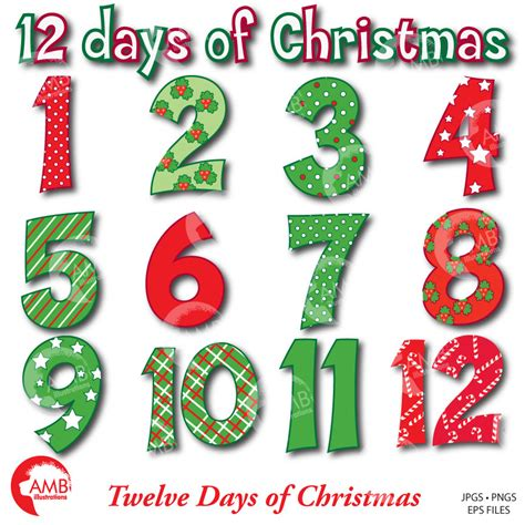 Christmas Numbers Clipart, Twelve Days Of Christmas, Amb354 Ambillustrations