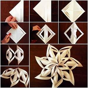 DIY 3D Paper Snowflake Ornaments BeesDIY com