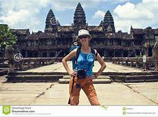 Traveler at Angkor Wat stock image Image of stone, stones