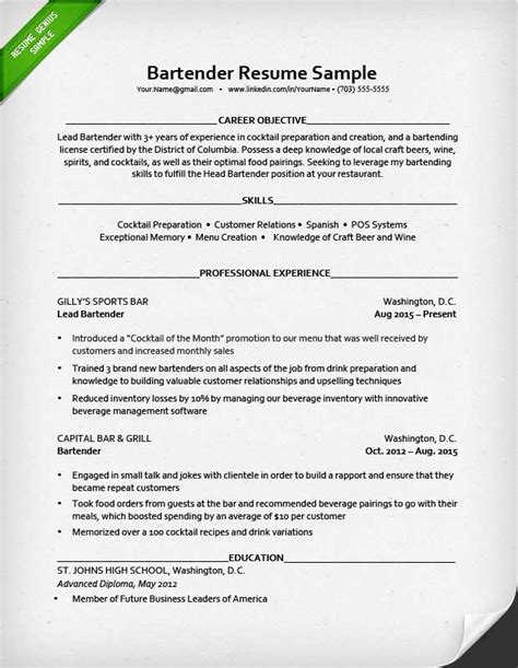Bartender Description For Resume by 95 Resume For Bartender Server Sle Resume For