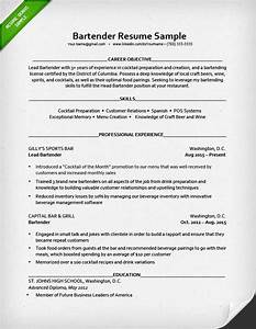 Bartender resume sample resume genius for Bartender resume template