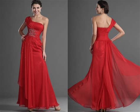 Red Crystal One Shoulder Wedding Guest Dress Long Party
