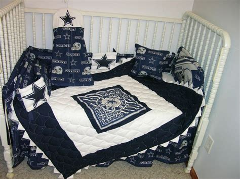 Dallas Cowboys Crib Bedding by Crib Bedding Set Made W Dallas Cowboys Prairie Points