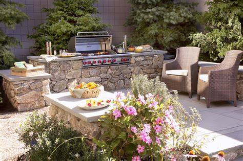 Outside Grill Ideas Patio Mediterranean With Built-in