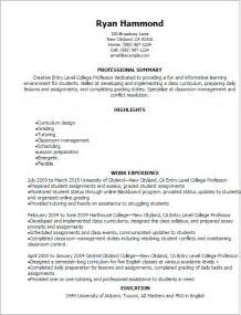 Assistant Professor Resume Model by Professional Entry Level College Professor Resume