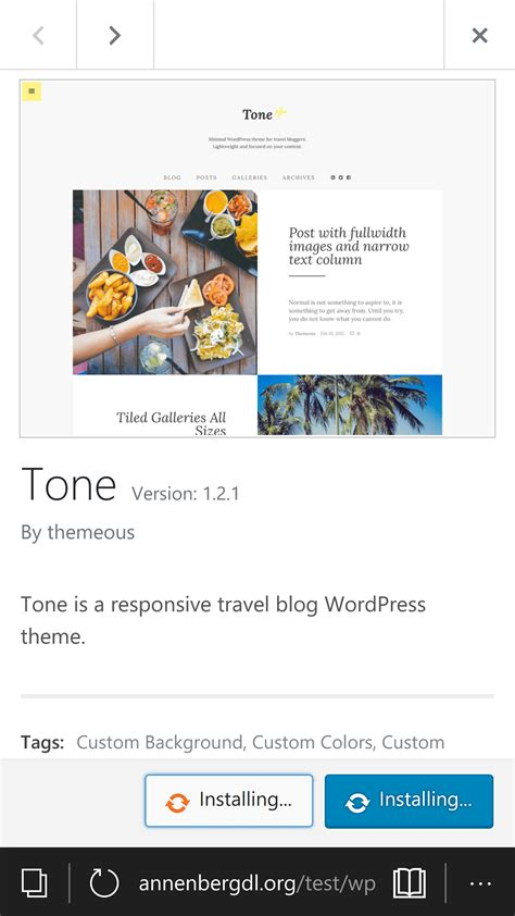 customizer browse install preview themes  mobile