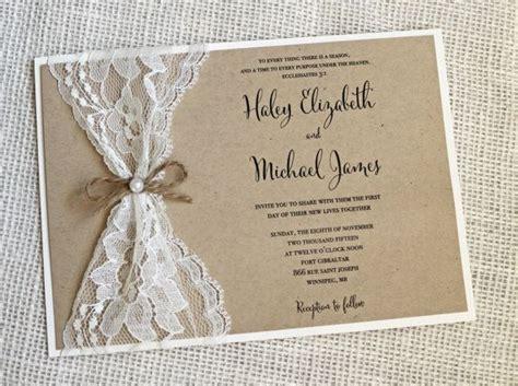 Rustic Wedding Invitation Lace Wedding Invitation