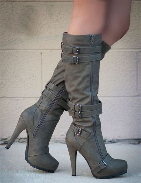boots grey camel coppy stiletto heel knee high boots knee high boot