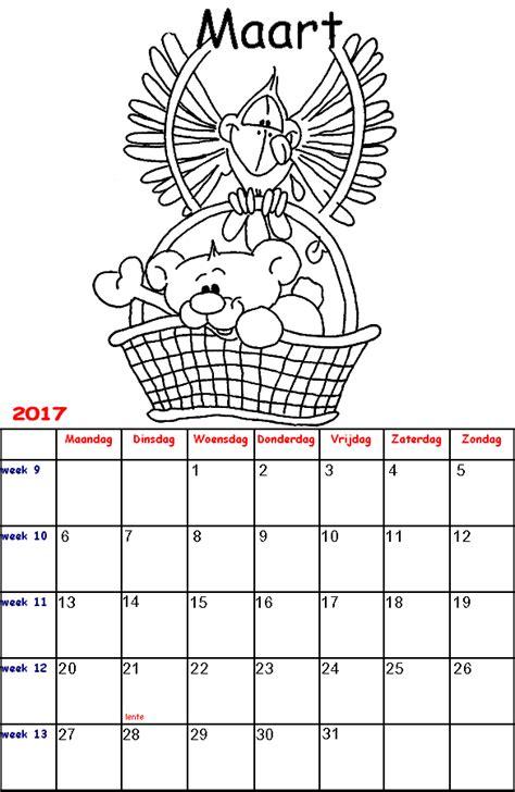 Kleurplaat Kalender Maart by Diddl Kalender Kleurplaten