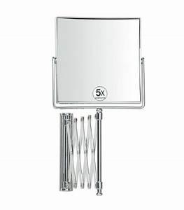 miroir grossissant x5 mural carre sur bras extensible With miroir grossissant mural salle de bain