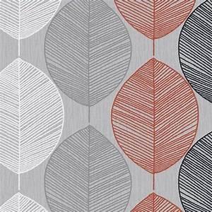 Arthouse Retro Leaf Wallpaper in Orange and Silver
