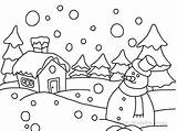 Coloring Snow Scene Pages Winter Printable Worksheets Activities Students Lessons sketch template