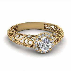 Dome filigree halo vintage round diamond engagement ring for Gold engagement and wedding rings