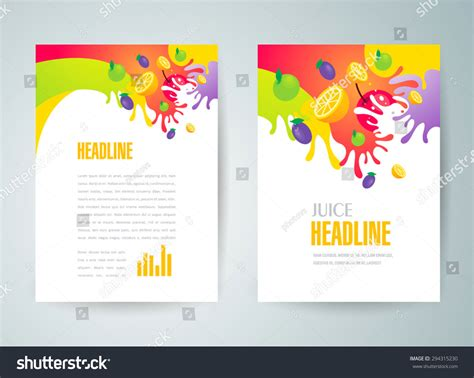 Brochure Design Template Juice Fruit Drops Stock Vector Flyer Brochure Design Template Abstract Fruit Juice Liquid