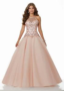 Tulle Dropped Waist Prom Dress with Beaded Bodice   Style ...