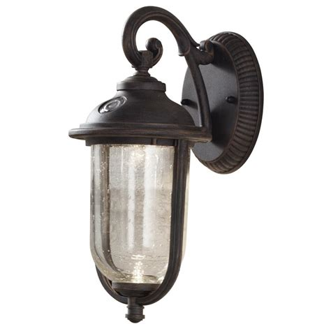 rustic lantern lights hton bay 1 light rustic iron outdoor wall mount lantern 2066
