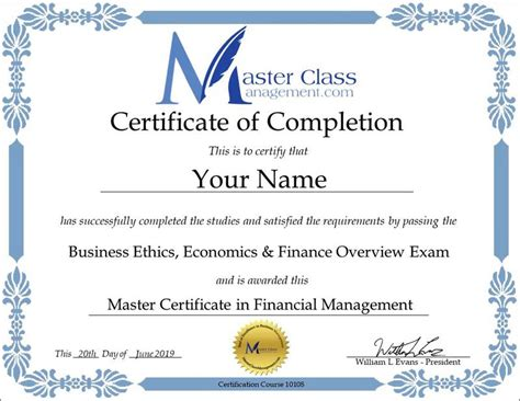 business management certification  certificate