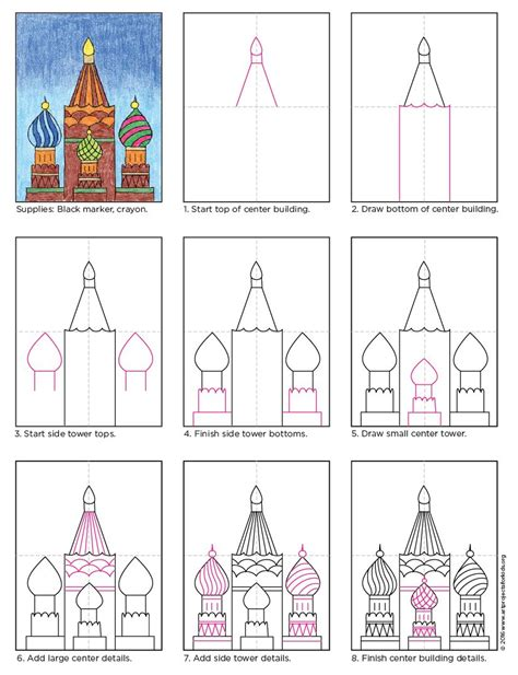 draw russian buildings art step  step building art