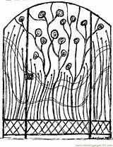 Coloring Pages Gate Colouring Garden Template Jubilee Cherries sketch template