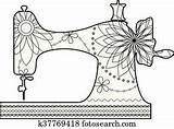 Sewing Machine Coloring Fotosearch Clipart sketch template