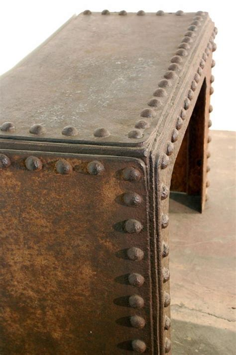 massive riveted french industrial console  stdibs