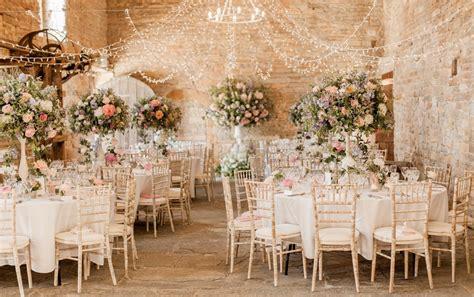 almonry barn romantic wedding  pink colour scheme