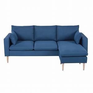 Canapé D Angle Modulable : canap d 39 angle modulable 3 4 places en tissu bleu joey ~ Melissatoandfro.com Idées de Décoration