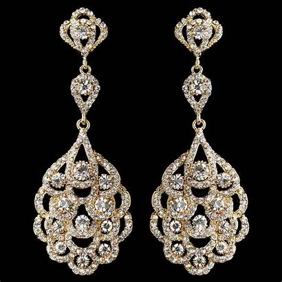 Earrings Gold Chandelier Bridal Rhinestone Jewelry Crystal