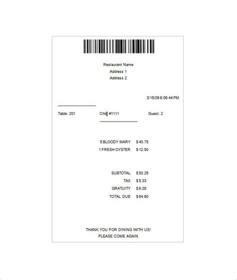 restaurant receipt template 12 restaurant receipt templates doc pdf free premium templates