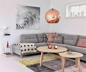 Salon Gris Blanc : idee deco salon gris et rose ~ Dallasstarsshop.com Idées de Décoration