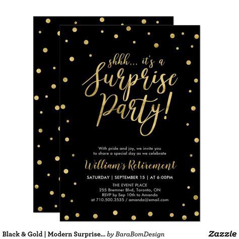 Black & Gold Modern Surprise Retirement Party Invitation