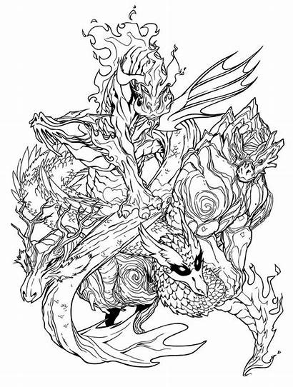 Dragons Coloring Pages Elemental Adult Deviantart Dragon