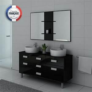 Meuble Salle De Bain Asymétrique : meuble de salle de bain double vasque noir dis911n ~ Nature-et-papiers.com Idées de Décoration