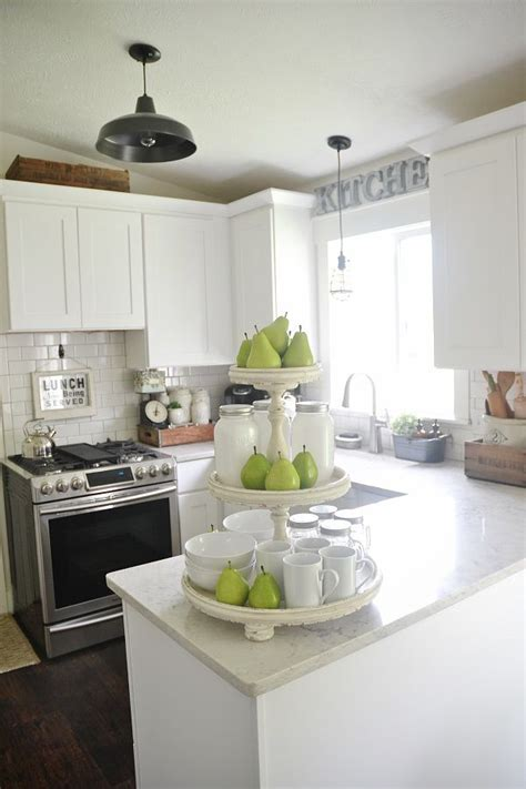 light bright kitchen shabby  tiered stand styled