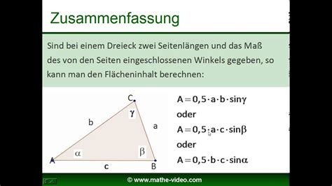flaecheninhalt des dreiecks trigonometrie youtube