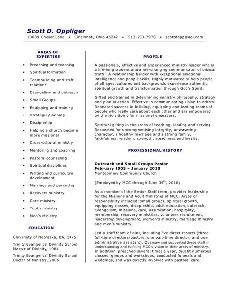 Minister Resume by Sle Resume For Pastors