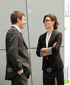 Relaxed Conversation Between Two Business Persons Stock ...