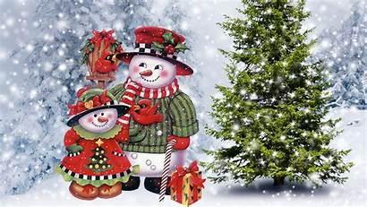 Snowman Christmas Snowmen Desktop Tree Wallpapers Bird