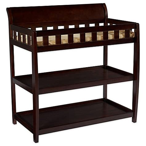 shelves changing table delta children bentley 2 shelf changing table in chocolate buybuy baby
