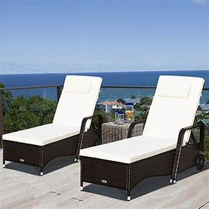 Gymax, 2pcs, Cushioned, Outdoor, Wicker, Chaise, Lounge, Chair, W, Wheel, Adjustable, Backrest