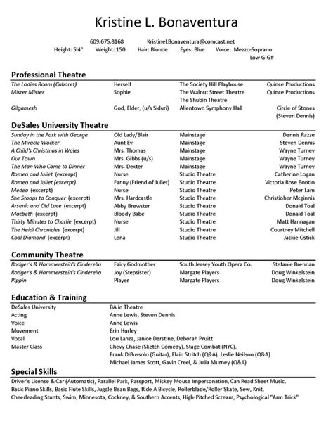 Acting Resume Sle by Best 25 Acting Resume Template Ideas On Free