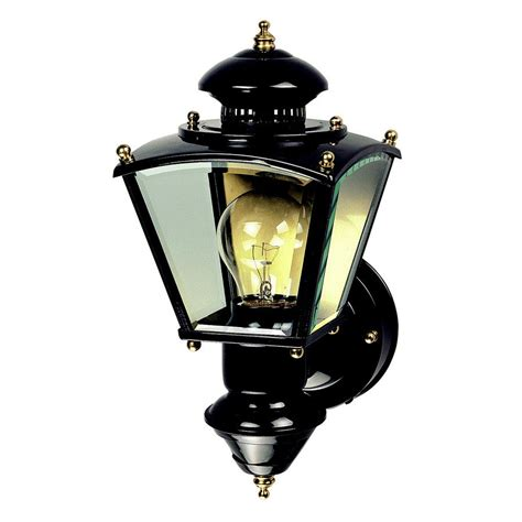 motion activated porch light heath zenith 16 1 2 in black motion activated outdoor wall