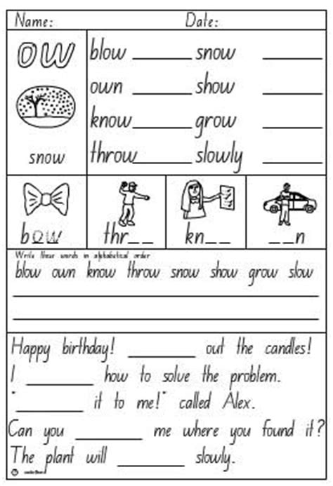 vowel digraph ow activity sheet skills