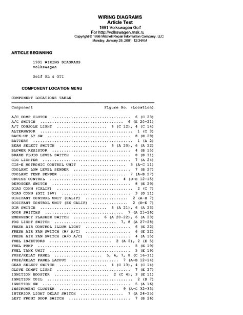Golf Gti Wiring Diagrams Service Manual