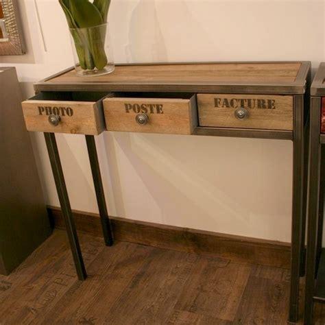 bureau lyon 2 console tiroirs métal bois flotté mobilier design