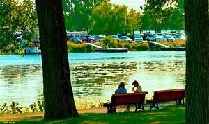 Park Bench Conversation Shoreline Lachine Canal Quebec Art ...