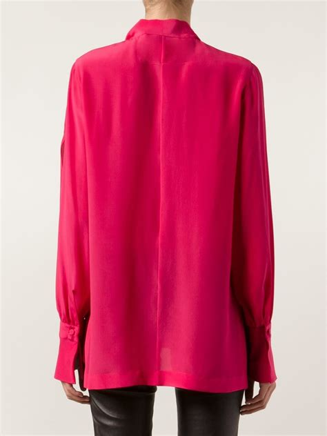 chiffon blouse givenchy silk chiffon tie neck blouse in purple lyst