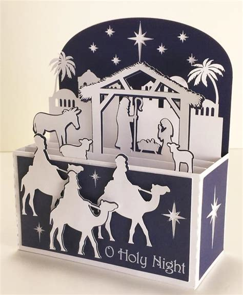 Shop for boxed christmas cards on papercards.com. Nativity Christmas Card In A Box 3D SVG